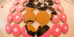 MSSNG LMNTS (J Dilla) by Hunter Schindo, 6x4 ft., industrial paint on 24 vinyl records